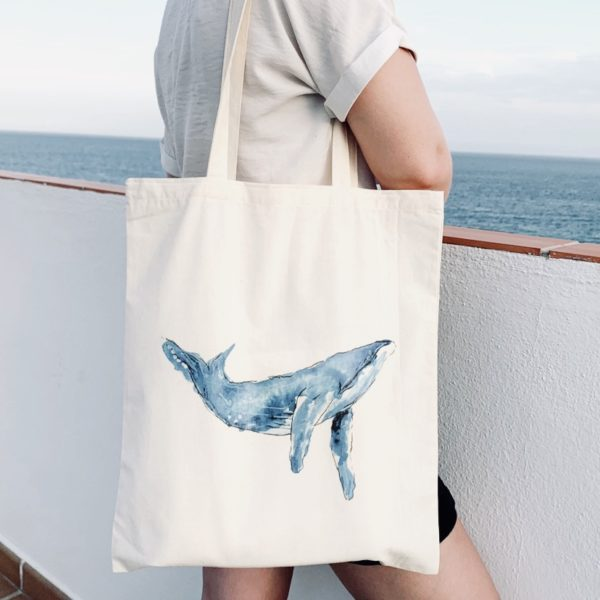 Whale Tote, Whale Tail Art. Pedddle