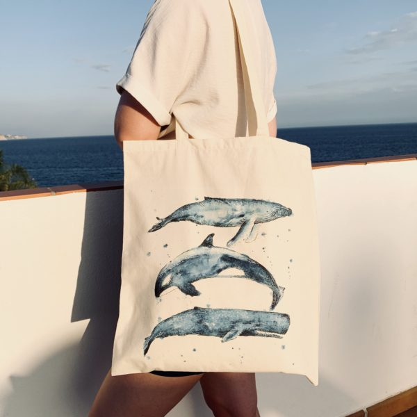 Whales Tote, Whale Tail Art. Pedddle