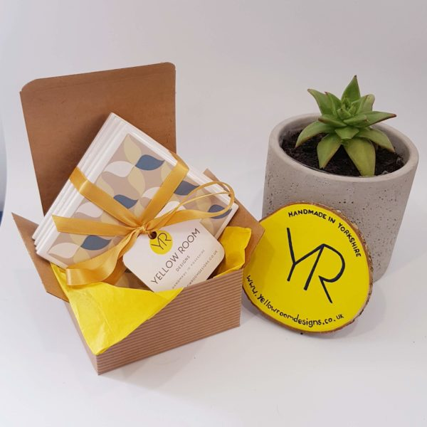 Retro Geometric Pattern Tile Coaster Gift Set of 4 by Yellow Room Designs