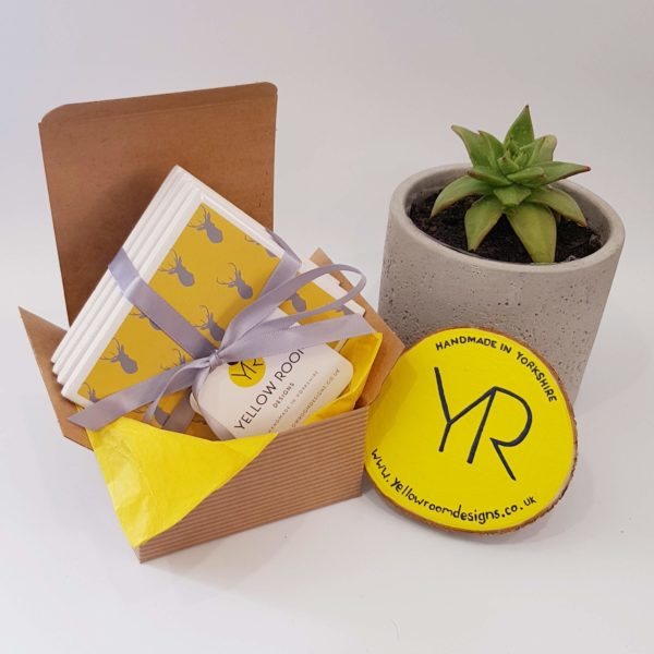 Yellow and Grey Stag Tile Coaster Gift Set of 4 by Yellow Room Designs