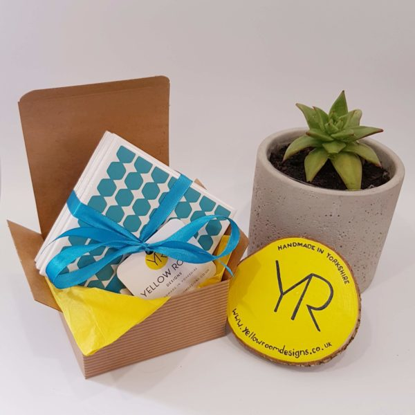 Teal Geometric Tile Coaster Gift Set of 4 by Yellow Room Designs