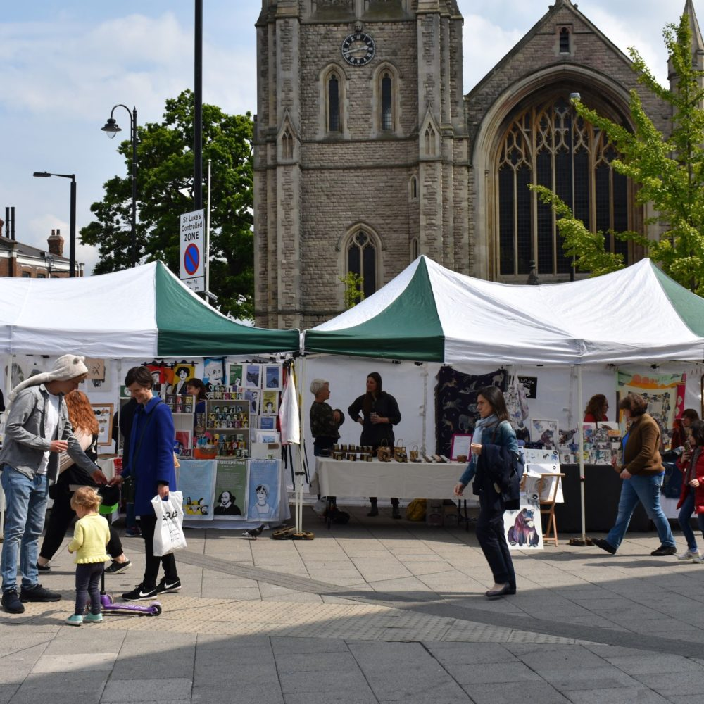 View of the Muswell Hill Creatives Market in St James Square. Pedddle