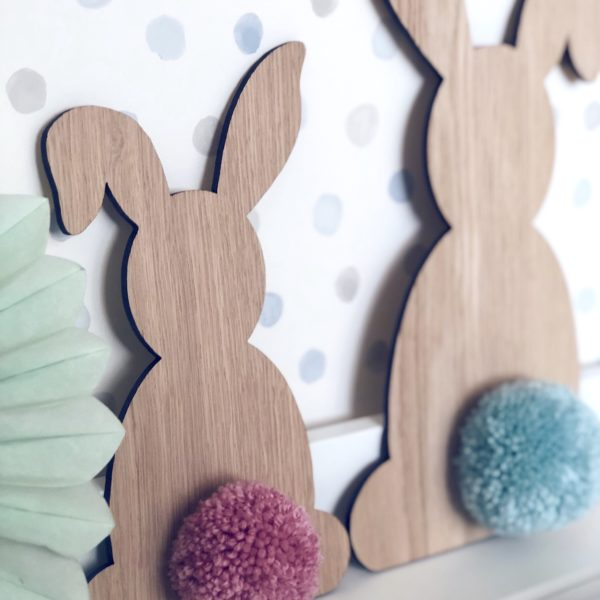 Hannah Joy Designs, Wooden bunnies with pom pom tails