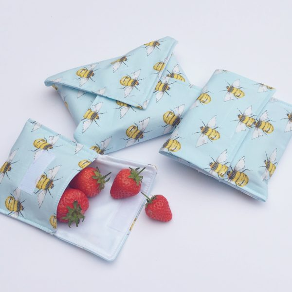 Tweedles Handmade- snack bags and sandwich wrap lunch set