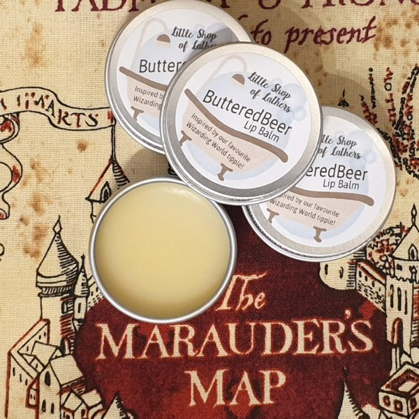 Handmade Harry Potter inspired lipbalm, ButteredBeer. Made by Little Shop of Lathers
