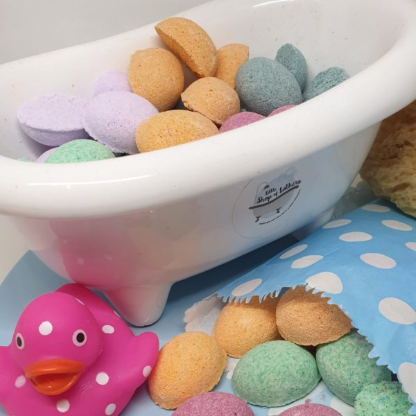 Handmade mini bath bombs, 20 per bag, mixed flavours inspired by retro sweets. Made by Little Shop of Lathers