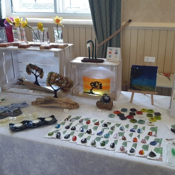 stall set up showing fused glass art