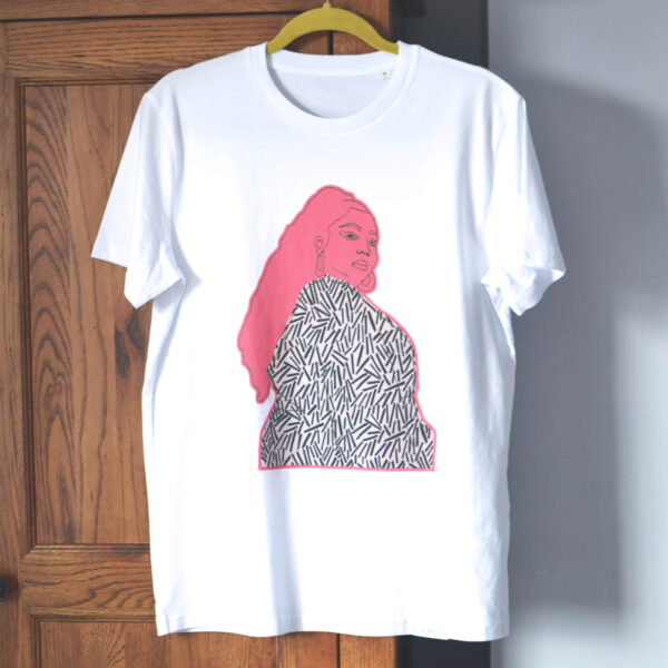 white t-shirt with bold pink design taken from an embroidered artwork of Lizzo