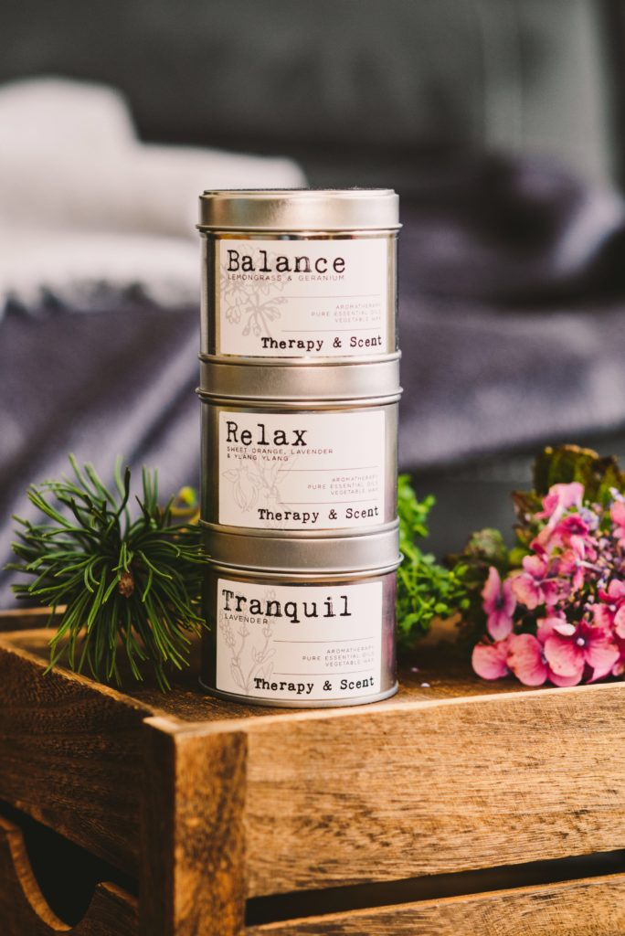 Therapy & Scent stack of 3 tinned Candles