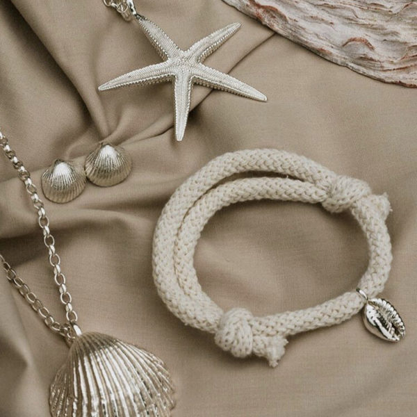 shell necklaces, earrings and bracelet