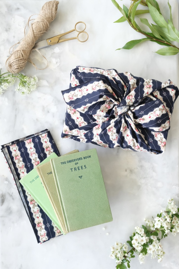 The Hawthorn Co. Navy blue striped cotton fabric gift wrap