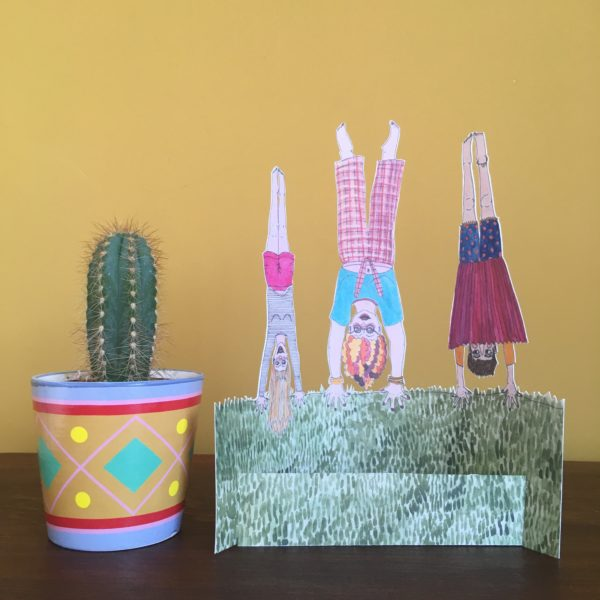 Hand cut, free standing, Illustrated print, Handstand, by Made by Nomela