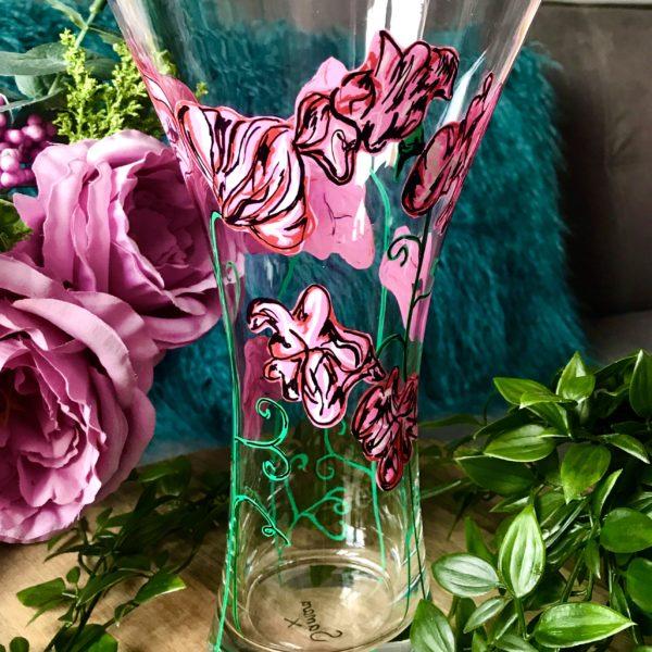 Samara Ball Designs Beautifully handpainted Sweet Pea Vase inspired by nature.