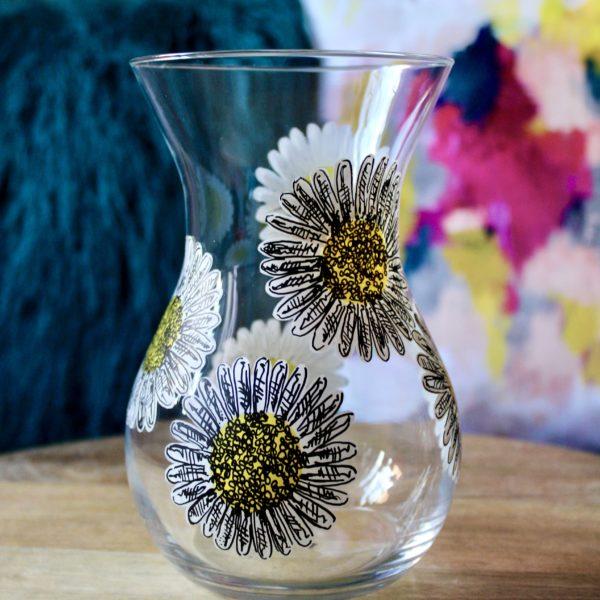 Samara Ball Designs Small Handpainted White Daisy Vase