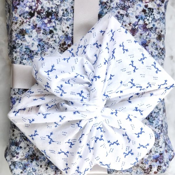 The Hawthorn Co. Blue and Purple Floral Wrapping paper