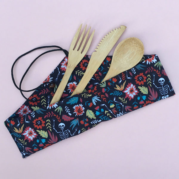 Machine washable pouch with bamboo cutlery set, Tweedles Handmade, eco friendly, sustainable gift for picnics and eating on the run