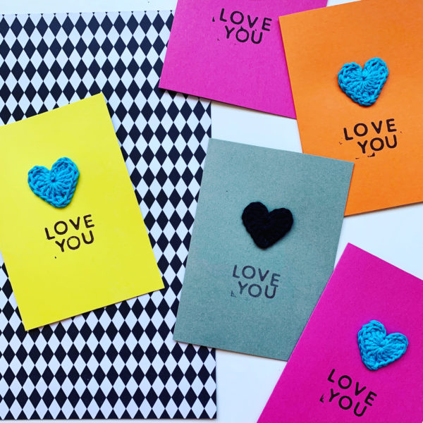 'Love You' Greeting Cards in different colours with crochet love heart embellishment.
