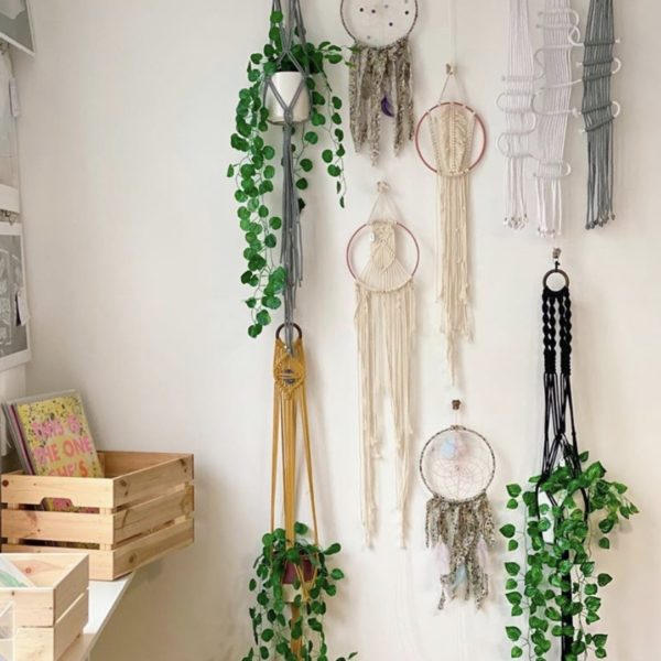 White January, various Macrame Wallhangings, Plant Hangers and Dream Catchers. Pedddle