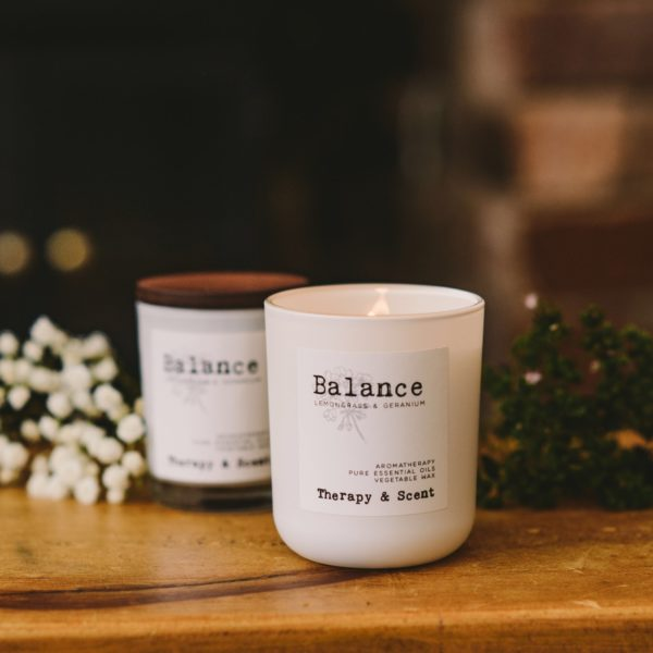 Therapy & Scent Balance Candle, white candle with wooded lid