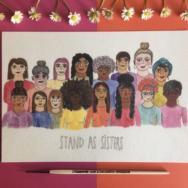A5 Illustrated print, Stand as Sisters, by Made by Nomela