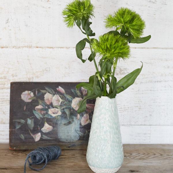 Clara Castner porcelain carved celadon vase