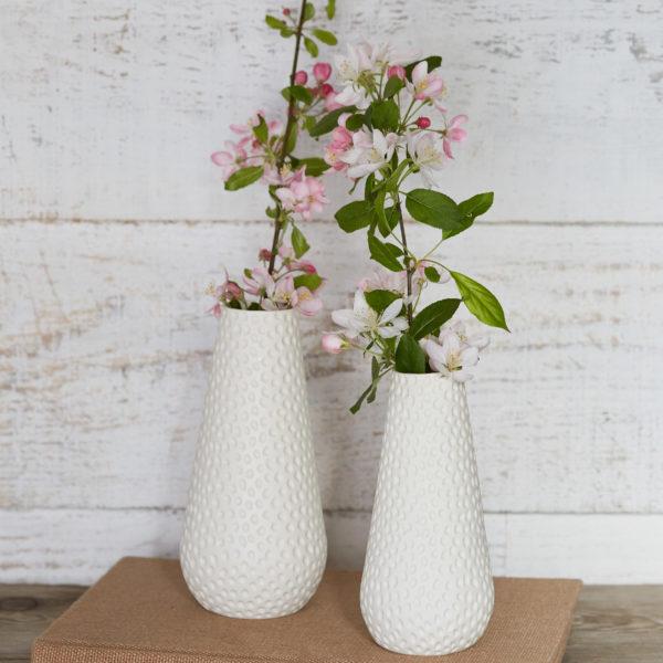 Clara Castner porcelain large and medium carved vases
