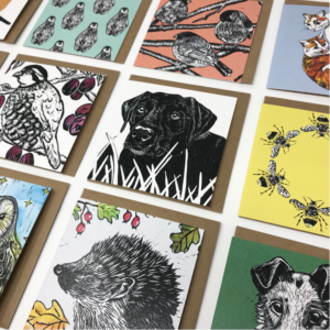 The Littlest Falcon - greetings cards - lined up in rows, all featuring animals taken from Merlyn's original lino prints