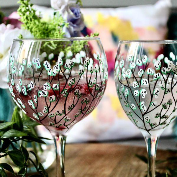 Samara Ball Designs Handpainted White Blossom Gin and Wine Glass