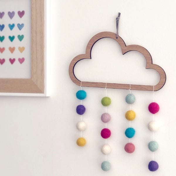 Hannah Joy Designs, Wooden cloud with pom poms