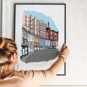 Moo and Snip, Edinburgh Skyline Cityscape Landmarks Art Print