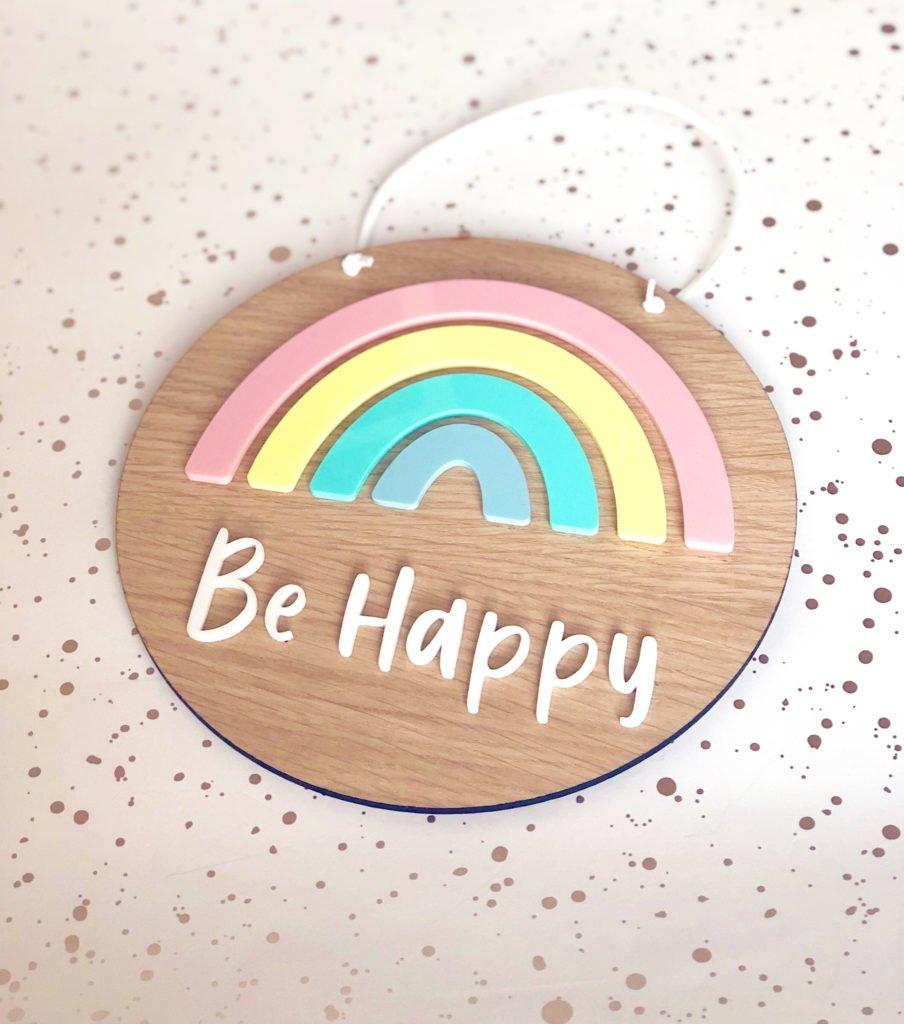 Hannah Joy Designs, Pastel Rainbow plaque - Be Happy