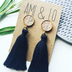Cork leather and black tassel earrings, vegan earrings, Ami and Lo, Pedddle