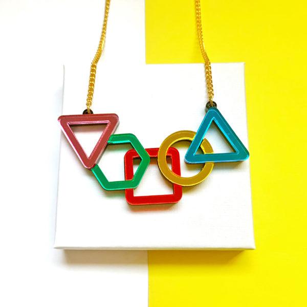 Acrylic shapes statement necklace