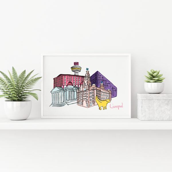 Moo and Snip, Liverpool Cityscape Illustration