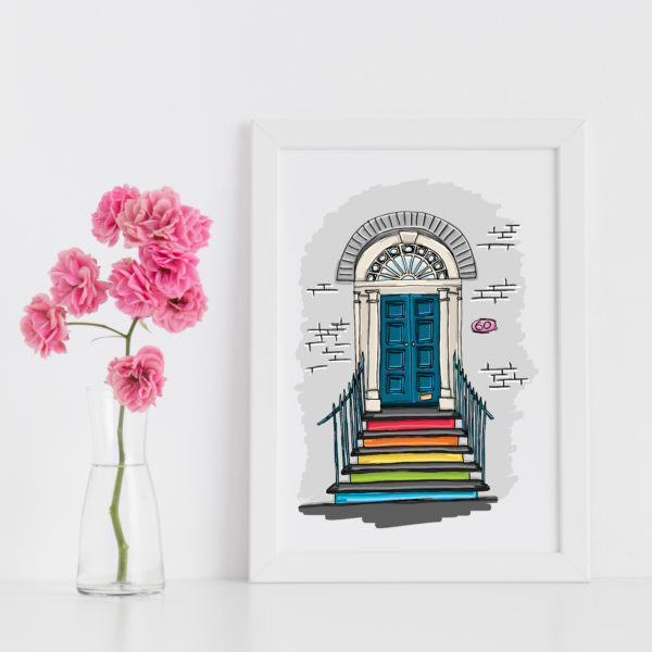 Moo and Snip, Rainbow Entrance Illustration Print