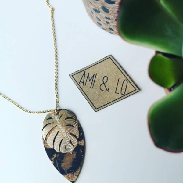 Monstera leopard print necklace, cork leather, Ami and Lo