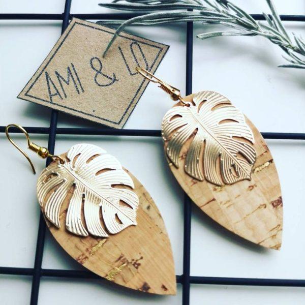 Vegan Cork Leather Monstera leaf earrings, Ami & Lo, Pedddle