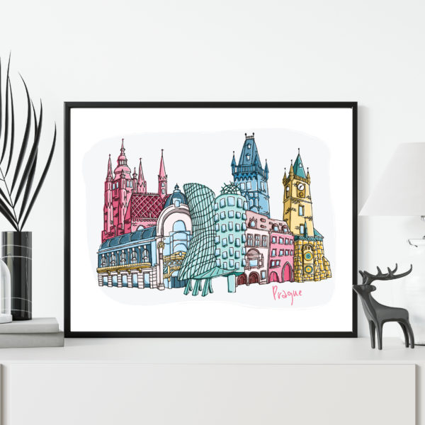 Moo and Snip, Prague Cityscape Illustration
