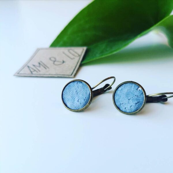 Pearl grey drop stud earrings, Ami and Lo, Cork leather