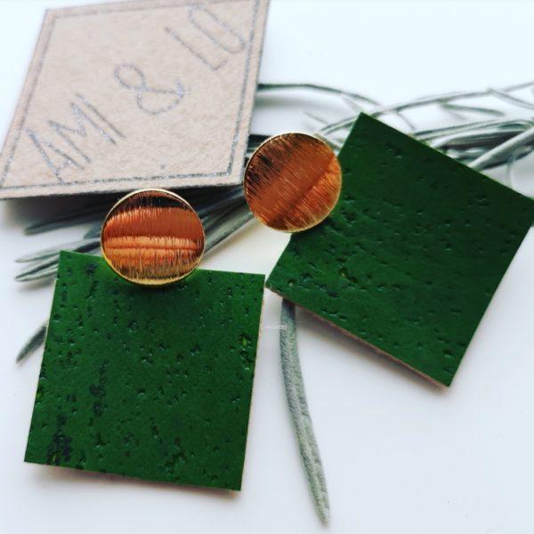Green cork leather square earrings, vegan, Ami & Lo, Pedddle.