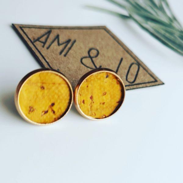 Yellow stud cork leather vegan earrings, Ami & Lo. Pedddle.