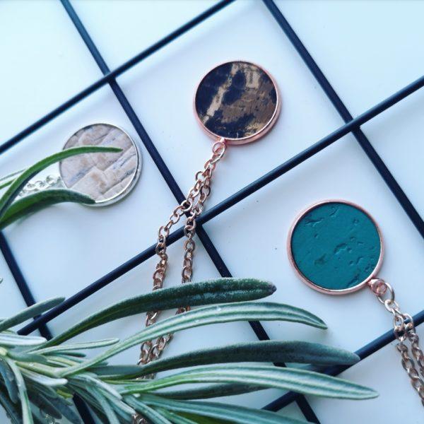 Cork leather pendant necklaces, vegan, Ami & Lo, Pedddle.