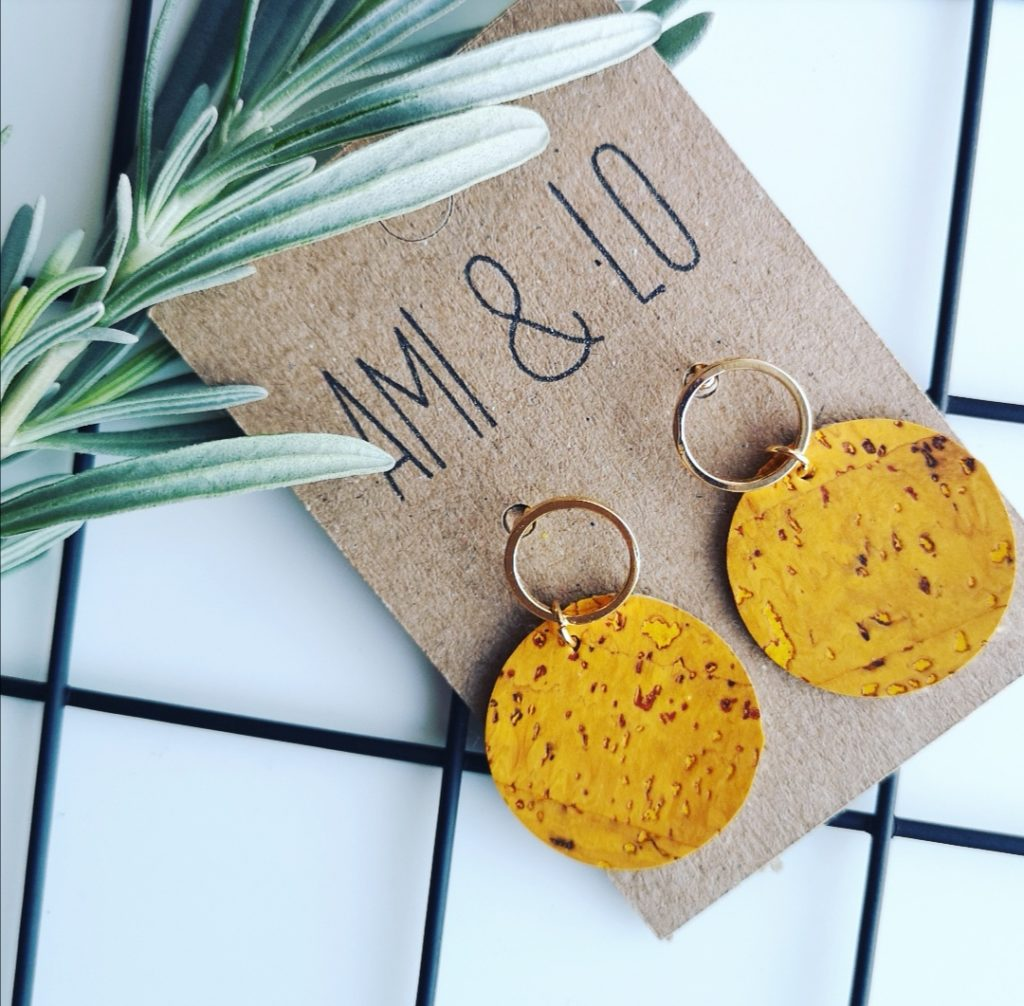 Yellow loop circle earrings, vegan cork leather, Ami & Lo. Pedddle.