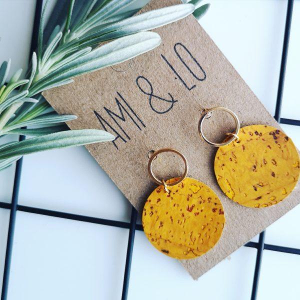 Yellow loop circle earrings, vegan cork leather, Ami & Lo. Pedddle.