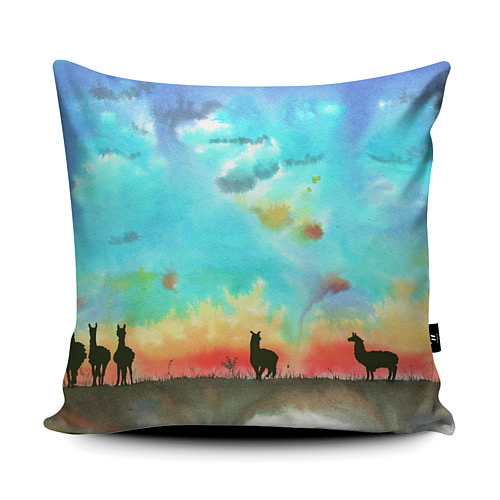 Squiggly Sue Designs Alpacas Vegan Suede Cushion