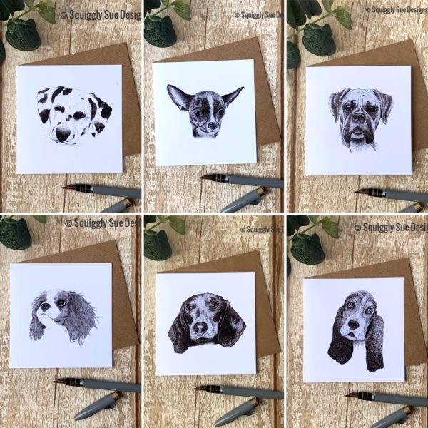 Squiggly Sue Designs Dog Pen and Ink Drawing Blank Greetings Cards Boxer Chihuahua Dalmation King Charles Spaniel Dachshund