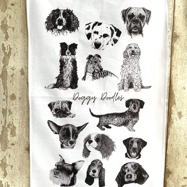 Squiggly Sue Designs Cotton Tea Towel White Background Pen and Ink sketches of 14 dog breeds