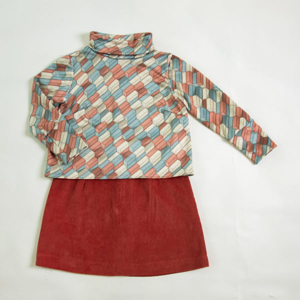 Audrey jumper paired with the Jean skirt - both from the Friedan collection