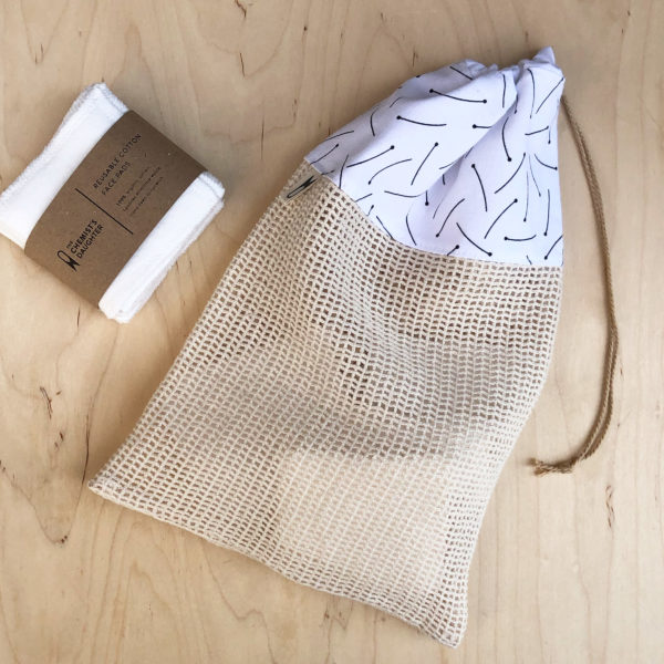 Cotton wash bag for reusable face wipes