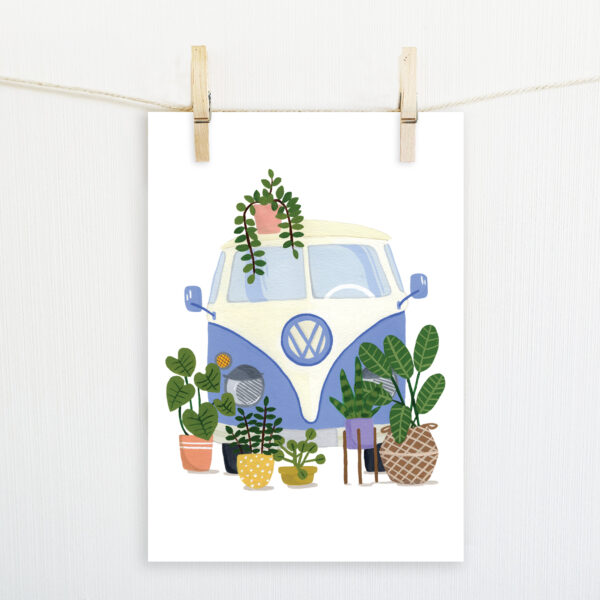 Camper Van Illustrated Print, Delilah Moon